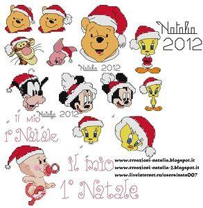 """ho fatto la raccolta dei personaggi Disney natalizi. I pi� piccoli che ho creato!ci sono anche 2 scritte """"Il mio 1-o Natale"""" e il bimbo vestito da Babbo Natale.Ci sono anche altri Disney e non sono sul tema Natalizio tra i mie schemi!!!"""