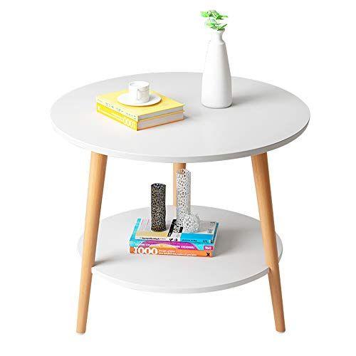 Axdwfd Small Round Table 2 Layer Solid Wood Sofa Side Table Fashion Coffee Table Living Room Bedroom Bed White Bedside Table Bedroom Bedside Table Corner Table