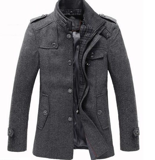 Splice Wool Jacket Men&39s Slim Fit Windproof Outerwear | Pinterest
