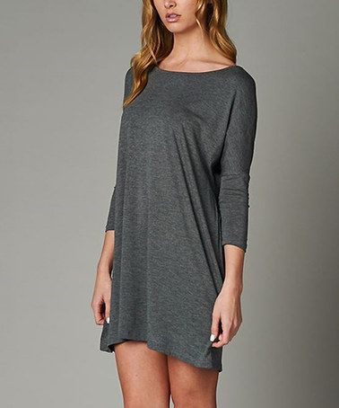 Look at this #zulilyfind! Charcoal Boatneck Three-Quarter Sleeve Tunic - Plus by 42POPS #zulilyfinds