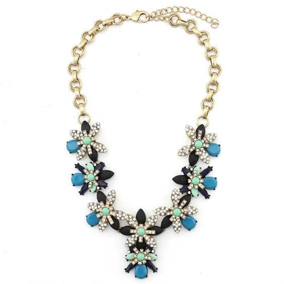 Flower Statement Necklace Multi Colored Necklace Bib by zucir