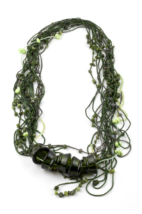 Moniek Schrijer - wakame radiation / necklace / Japanese seed beads, chinese nephrite, pounamu, dyed turquoise, labradoite, glass bottle / 2013: