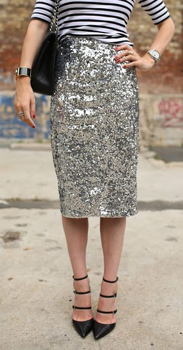 Stripes + sequins. Dress down a sequin skirt by adding a plain or striped cotton tee
