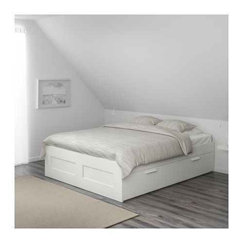 Brimnes Bedframe Met Opberglades Wit 160x200 Cm Ikea Ikea Bed Frames Bed Frame With Storage Bed Storage Drawers
