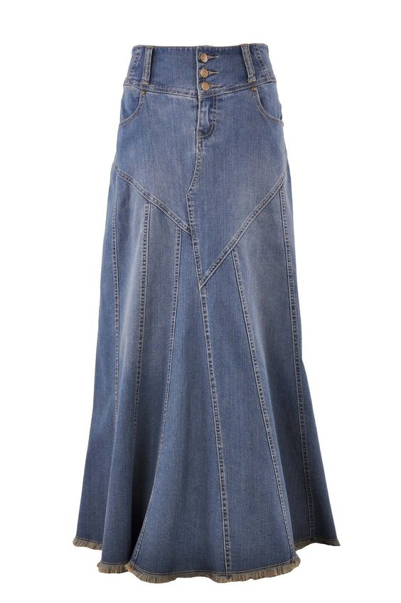 Style J Fantastic Flared Long Jean Skirt at Amazon Womenu2019s Clothing store | Denim Skirt ...