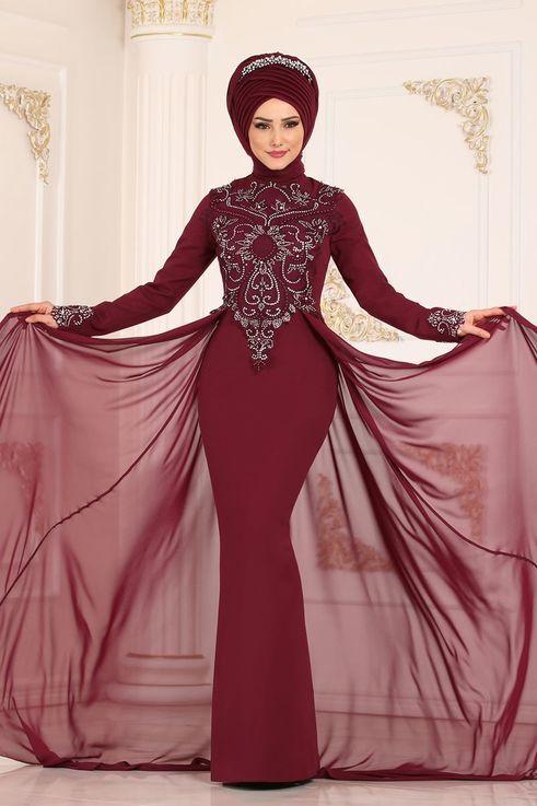 Modaselvim Abiye Sifon Pelerinli Balik Abiye Alm52730 Bordo The Dress Aksamustu Giysileri Giyim