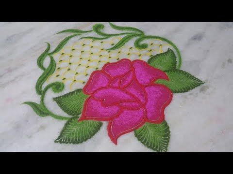 Attractive Rose Flower Rangoli New Year Rangoli Computative Rangoli Muruja Jhoti Kolam Muggulu Youtube Flower Rangoli Rangoli Designs Flower New Year Rangoli
