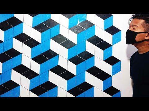 Tips Trik Tutorial Cat Dinding Kamar 3d 3d Wall Art Painthing Ilustrasi Optical Illusion Design Youtube In 2021 3d Wall Art Painting Wall Art