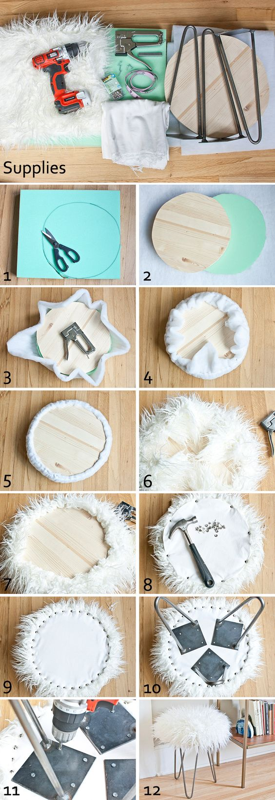 DIY faux fur stool...maybe could expand to benches for the foot of the bed in the girls' room: