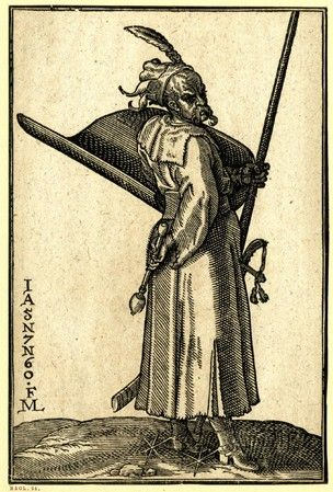 A Turkish warrior; WL figure, in profile to r; wearing spurs and holding a lance and a large shield in his l hand; from a series of 127 woodcuts.  1576 Woodcut