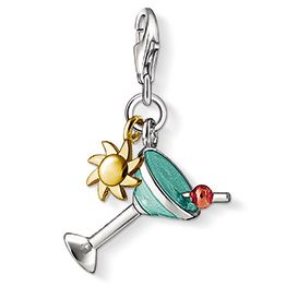 Make cocktail hour every hour, with this sterling silver Blue And Yellow Gold Plated Mini Sun Charm complete with a red accented cherry http://bit.ly/1aAu1jQ
