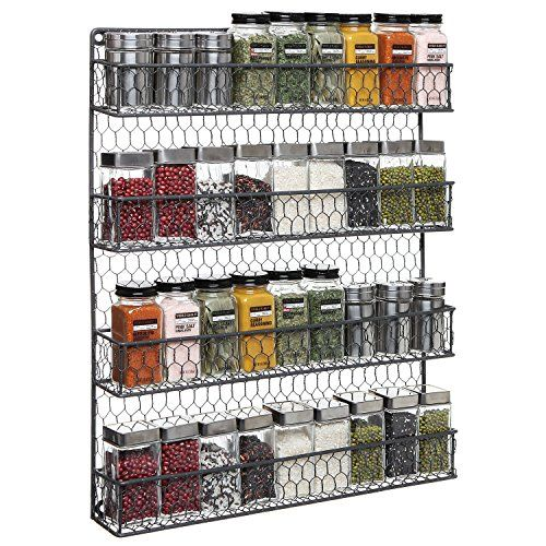 4 Tier Gray Country Rustic Chicken Wire Pantry, or