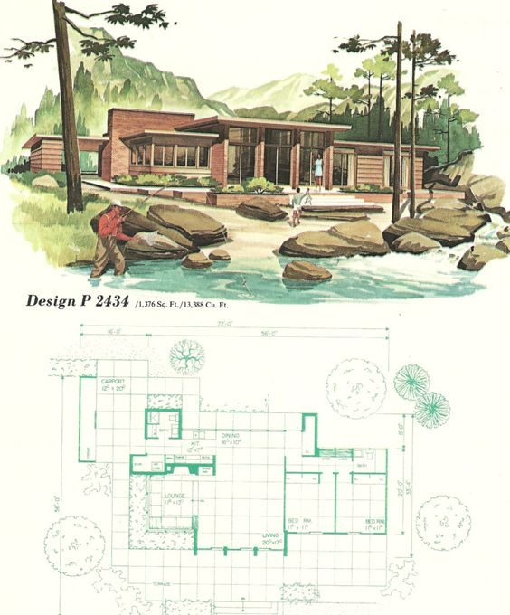 Retro style house and layout on pinterest for Free vacation home plans