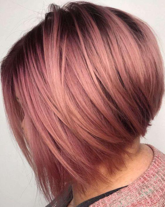 35 Charming Rose Gold Hair Colors Page 22 Of 35 Lovein Home Coloración De Cabello Cabello Teñido Color Para Cabello Corto