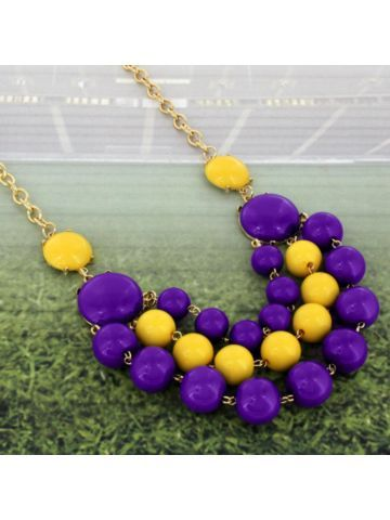 Layered Purple and Yellow Beaded Necklace