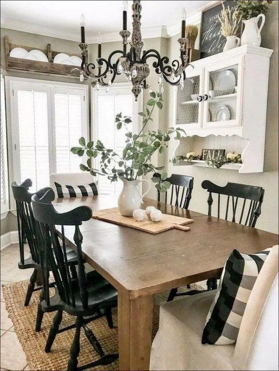 69 Wonderful Farmhouse Style Dining Room Design Ideas #LovelyFarmhouse #FarmhouseStyle #StyleDiningRoom * inspiratifdesign.com