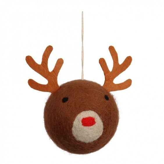 Felt Rudolph head bauble