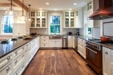 Traditional engineered acacia wood flooring kitchen design for Acacia kitchen cabinets