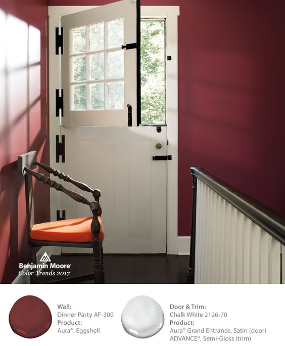 Dinner Party AF-300 is a classic paint color that looks great in a variety of spaces throughout the home. See it paired here with a Dutch door and trim in Chalk White 2126-70.
