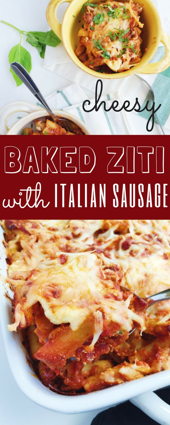 SUPER cheesy Three Cheese Baked Ziti with Italian Sausage is a delicious, comforting baked pasta dish for fall! Made even easier with quality store-bought tomato sauce, using Ragu's {NEW} Homestyle line! #ad