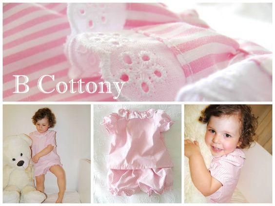 Pijama riscas cor de rosa com gola de folhos e bordado Inglês