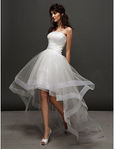 lan ting vestido de casamento vestido de bola - marfim tule strapless assimétrico – BRL R$ 380,96
