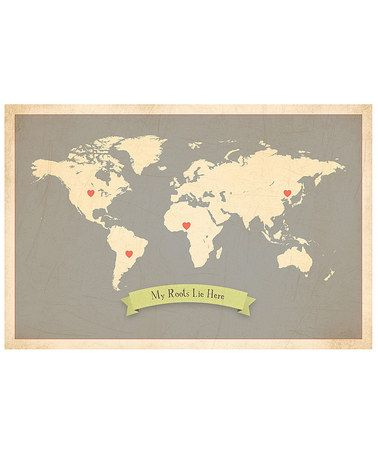 Take a look at this Gray World Roots Large Customizable Map  by Children Inspire Design on #zulily today!