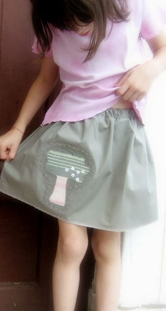 handmade skirt, applique, handwoven fabric
