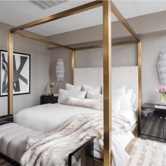 Silver metallic canopy bed. Thick posts. Want black or grey velvet headbosrd that comes all the way up. For grey, black, taupe, light pink, white, silver bedroom