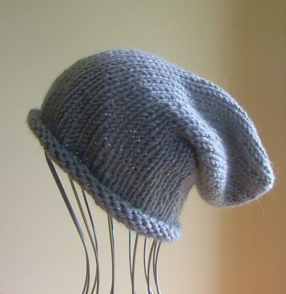 ~~ NEW Mens Womens Unisex Knitted SLOUCHY Beanie HAT Grey Silver HANDMADE QLD ~~