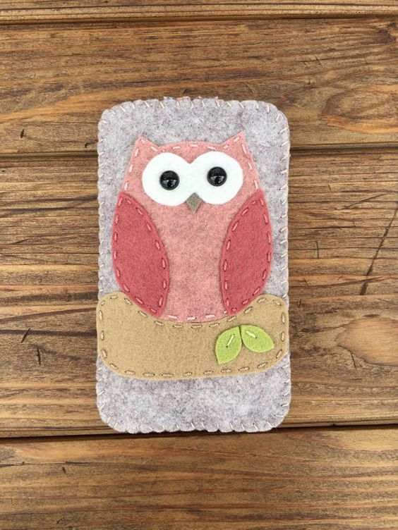 cas de téléphone portable chouette rose et brun par feltloved