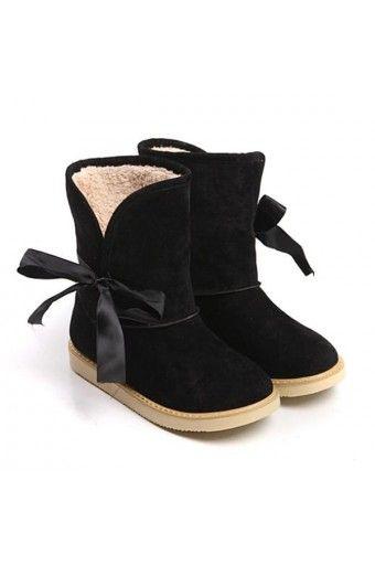 $19.99 Suede Upper Side Bow Decor Casual Winter Boots @MayKool. Okayyy I'm in heav.