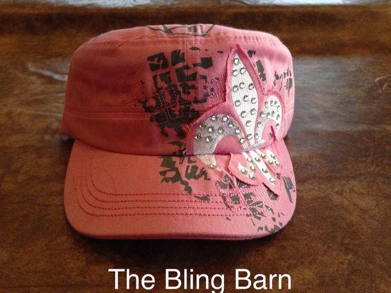 Rhinestone Fleur de Lis Bling Womans Hat Cap Cadet Distressed Hot Pink Zebra