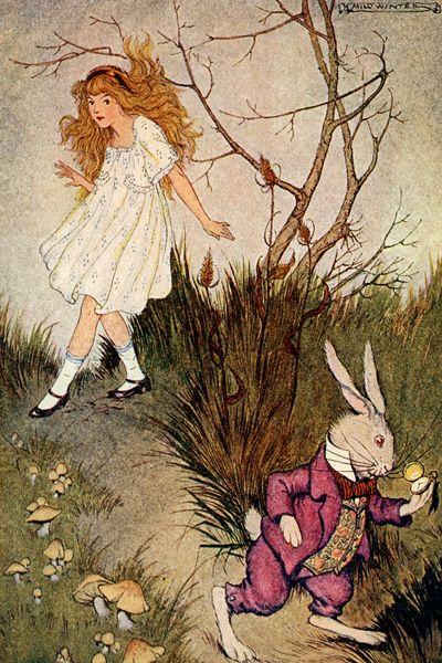 Alice and the White Rabbit by Milo Winter. Click on image to download in tiff format at 300ppi - print size 4 x 6 inches.