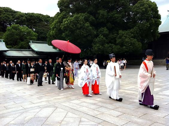 A wedding ceremony in Japanese traditional (Shintoh) style in Meiji-jingu shine, Tokyo.