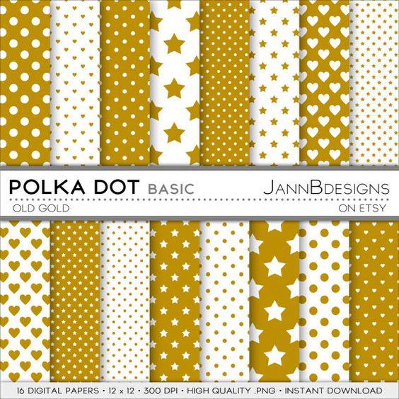 Old Gold POLKA DOT BASIC Digital Paper Pack: Polka by JAnnBdesigns
