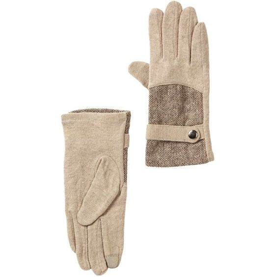 David & Young Jacquard Panel Wool Blend Gloves ($13) ❤ liked on Polyvore featuring accessories, gloves, beige and beige gloves