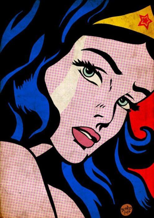 CARACTERISTICAS DE SU ESTILO: -Se exageran los puntos de trama -Grandes superficies de colors liso organizan estrictamente el espacio Pop art - color only the head piece, eyes and lips.