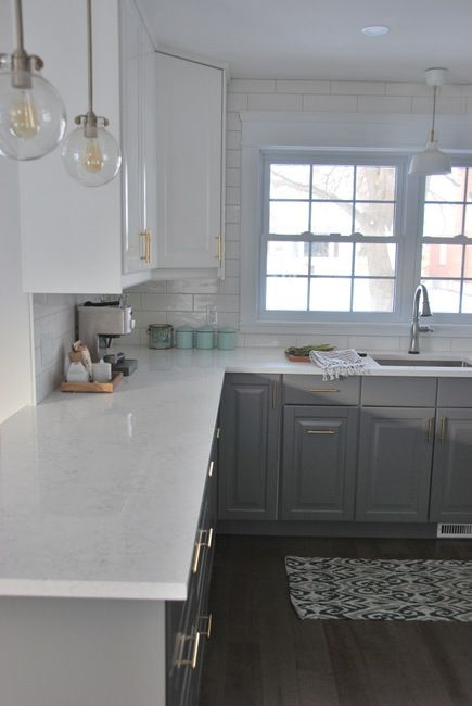 Grey Kitchen Cabinets With White Countertops: Kitchen Countertop Options: Quartz That Look Like Marble