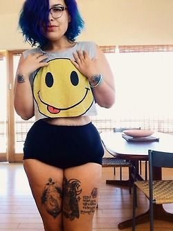 curvy colored hair alternative girl mermaid hair Plus size fatshion thick thick…