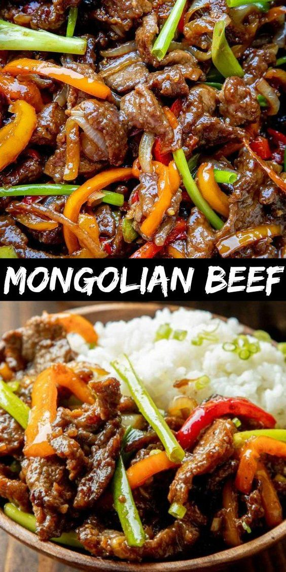 Delicious Mongolian Beef Recipe is made with juicy beef strips, sauteed bell peppers and onion all coated in a delicious savory sauce. It's best served over hot steamed rice. #letthebakingbegin #mongolianbeef #mongolianbeefrecipe #beefrecipe #beef