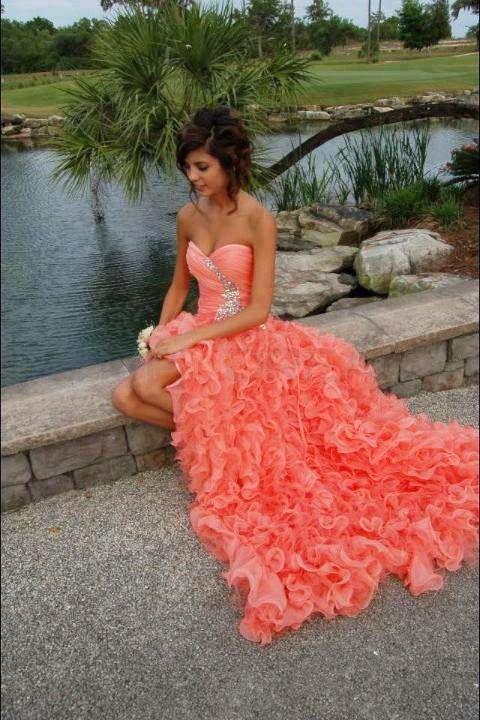 $289.99 A line Sweetheart Ruffles Long Coral Prom Dress