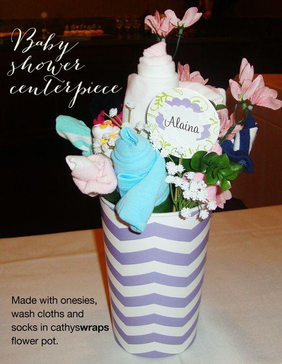 Lavender chevron baby shower centerpiece made of onesies