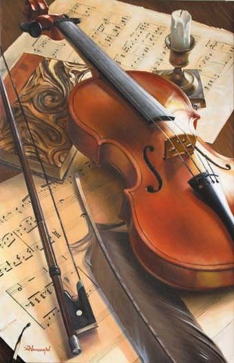 Violon, plume, livre et partitions