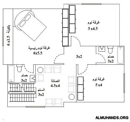 فيلا صغيرة على مساحة 120 متر طلب منتديات شبكة المهندس Floor Plans Diagram