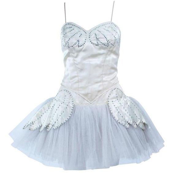 Preowned Ivory Satin And Rhinestone Burlesque Costume With Tulle Skirt... (915 CAD) ❤ liked on Polyvore featuring costumes, white, burlesque halloween costumes, vintage costumes, burlesque costumes, vintage halloween costumes and white halloween costumes