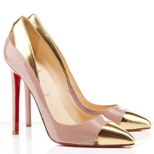 pinkish nude heel with gold toe cap...sophisticated and naughty at