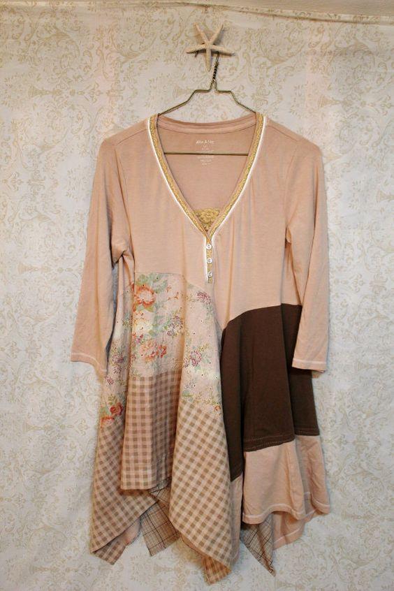 Shabby Chic Knit Shirt, Boho Lagenlook Style, Country Girl, Mori Girl: