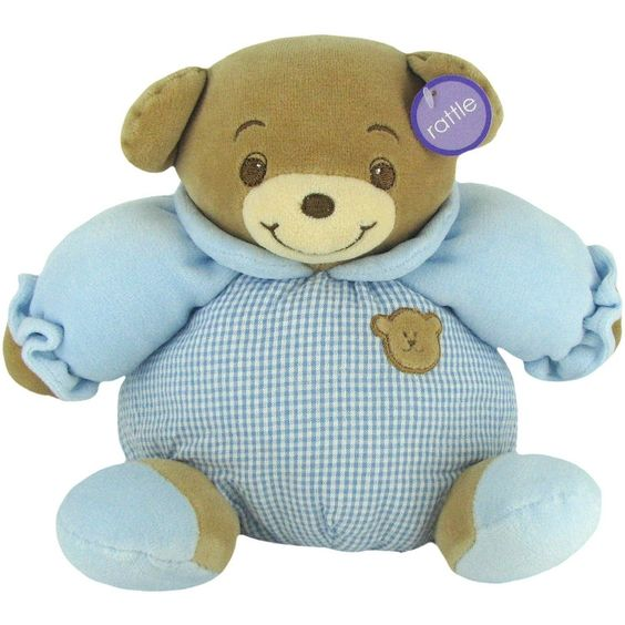 Baby Bow Rattle Plush Teddy Bear in by Russ