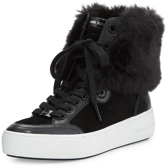 MICHAEL Michael Kors Poppy Faux-Fur High-Top Sneaker found on Polyvore featuring polyvore, women's fashion, shoes, sneakers, black, black platform shoes, black trainers, black poppy shoes, high top shoes and black hi top sneakers